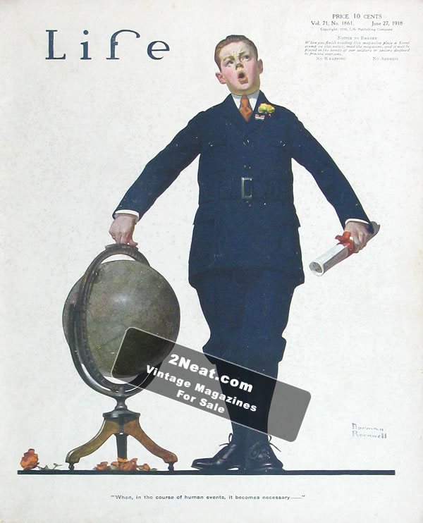 For Sale Life Magazine June 27 1918 1861 Norman