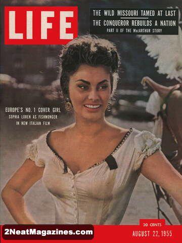 For Sale Life Magazine August 22 1955 Sophia Loren 2neat Magazines