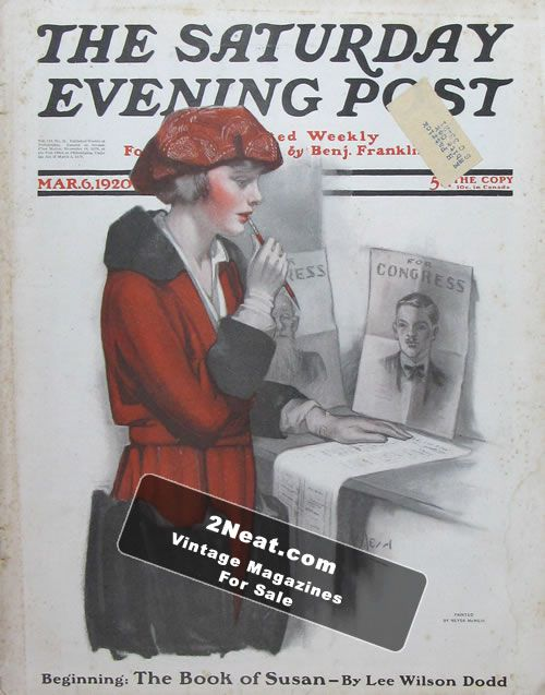 For Sale Saturday Evening Post March 6 1920 2neat